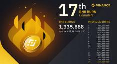 Биржа Binance провела 17 сжигание монет BNB.